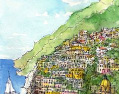 Positano Italy art print from an original watercolor painting
