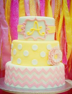 Gorgeous 3-tier fondant cake for Pink Lemonade Stand birthday party.