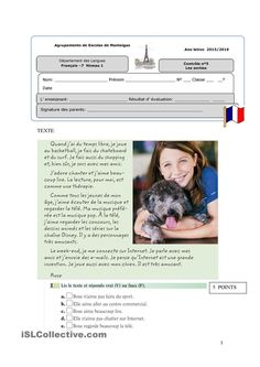 Contrôle niveau 1 « Les sorties et les loisirs » High School French, French Class, French Teaching Resources, Teaching French, Class Activities, Classroom Activities, French Language Lessons, French Worksheets, Core French