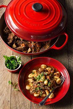 Short Rib Ragu with Gnocchi - Le Creuset Recipes Gnocchi Recipes, Pasta Recipes, Slow Cooker Recipes, Beef Recipes, Savoury Recipes, Recipies, Le Creuset Cookware, Beef Bourguignon, Beef Short Ribs