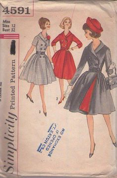 MOMSPatterns Vintage Sewing Patterns - Simplicity 4591 Vintage 60's Sewing Pattern GORGEOUS Rockabilly Lucy Shawl Collar Double Breasted Contrast Lining Front Wrap Around Coat Dress Size 12