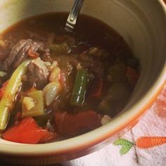 Beef and Brown Rice soup. Great for using up those roast beef leftovers. #glutenfree.