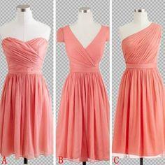 Cheap Custom Made Bright Coral Short Mini Bridesmaid Dresses, Coral Prom Dresses, Short Homecoming Dresses, Wedding Party Dresses