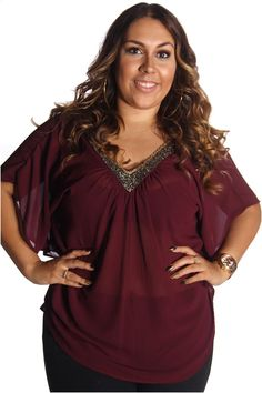 Biatcha Women's Flutter Sleeve Bead Collar Top 1X Burgundy Plus Size