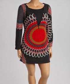 Another great find on #zulily! Black & Red Geo Zip Sweater Dress - Plus #zulilyfinds