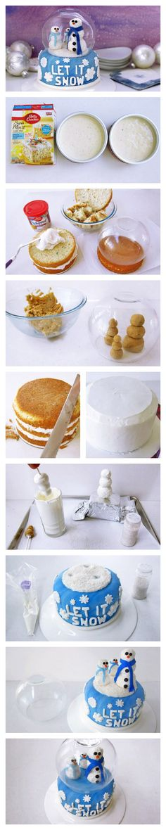 A cake decorated like a snow globe, filled with snowman cake pops and edible snow!
