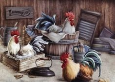 "Roosters - Always a nice touch in that ""Rustic"" style home! Rooster Painting, Rooster Art, Rooster Kitchen Decor, Rooster Decor, Chicken Painting, Chicken Art, Beautiful Birds, Beautiful Pictures, Swimming Posters"