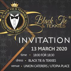 """INVITATION! – """"Black Tie & Tekkies"""" is almost here. Join us for an unforgettable evening of dancing, excellent entertainment, good food and just all-round fun. Save the date 13 March 2020, 18:00 for 18:30 at Union Caterers Utopia Place. www.tekkietax.org  #tekkietax #makethecirclebigger #takehands #lovingtekkies #jamblikprojek South African Celebrities, Long Term Care Insurance, 13 March, Disability, Black Tie, Save The Date, The Twenties, Grateful, How To Find Out"""