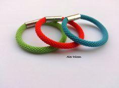 Colorful Bangle Bead Crochet Bracelets / Orange Blue by alevduzen