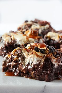 Here's an ooey-gooey take on my quintessential brownie recipe: strands of silky salted caramel and feather-light marshmallow cream cut through a sea of chocolate, making for a sublime edible experience. Bring these divine bites to your next potluck — or do what I do and hoard them all for yourself.