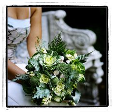 I love the texture in this bouquet!  I don't know as I really want to get married with a cabbage in my hand, but this is lovely.