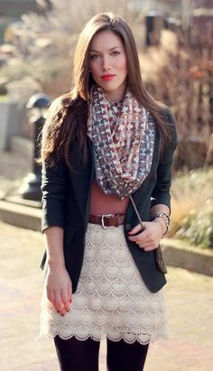 Loving These Layers. & Loving that skirt. Outfits Otoño, Fall Outfits, Fashion Outfits, Womens Fashion, Fashion Trends, Fashion Clothes, Runway Fashion, Fashion Inspiration, Spring Summer Fashion