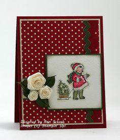 """♥ this gorgeous card by Ann Schach, featuring the little retro """"Campbell's Kids"""" cuties - sew sweet!  Also featured are Ann's signature pearls.  ♥♥♥ A+++"""