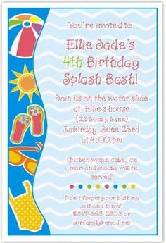 GirlS Birthday Pool Party Invitations Easy To Customize