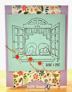 Window Front  and Boy and Girl Mini Set from Art Impressions Ai Front and Backs sets.  Handmade card.