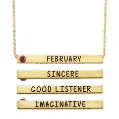 18k Yellow Goldplated Four-sided January Birthstone Bar Necklace