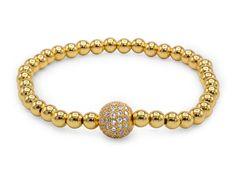 Brass Cubic Zirconia Ball Charm Bracelet
