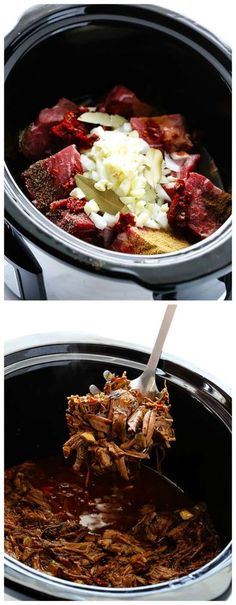 I love everything about this Slow Cooker Barbacoa Beef from Gimme Some Oven; chuck roast cooks until it's fall-apart tender with just the right mix of spices and savory ingredients. [Featured on Slow (Paleo Beef Enchiladas) Crockpot Dishes, Crock Pot Slow Cooker, Crock Pot Cooking, Beef Dishes, Slow Cooker Recipes, Mexican Food Recipes, Crockpot Recipes, Cooking Recipes, Tostadas