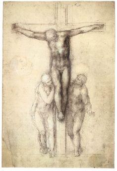 Michelangelo Buonarroti - Study of Christ on the Cross between (54,0 x 80,0 cm)
