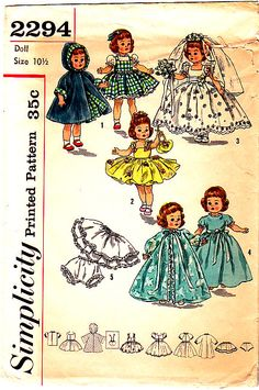 "Simplicity 2294 10.5"" Ginny, Muffy, Alexander-kins Doll Clothes Sewing Pattern Bride Dress Nightgown"
