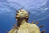 piece: Man on Fire, MUSA Collection, Cancun/Isla Mujeres, Mexico, depth 8m - Underwater Sculpture by Jason deCaires Taylor