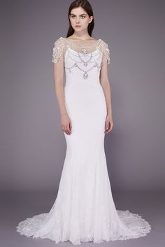 2016 Badgley Mischka Vow Renewal Wedding Dresses with Sheer Bateau Neck Rhinestone Beaded Sheer Sleeve Full Lace 1920s Bridal Gowns Cheap