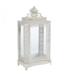 METAL LANTERN IN CREAM BRUSHED GOLD COLOR 25X17X47_5
