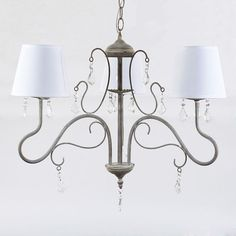 Metal ceiling lamp in grey color with 3 lights and fabric shade. www.inart.com