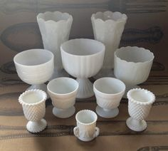 Milk Glass Wedding Collection 10 pieces by briannapie on Etsy, $50.00