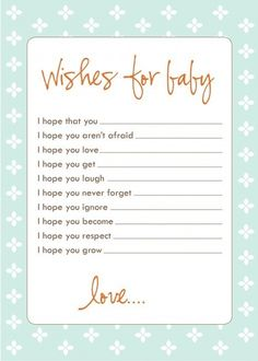 Wishes for baby...send with invitation and have bring back with them.