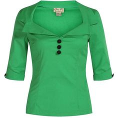 'Cilla' 1950's Vintage Tailored Green Top (2.285 RUB) ❤ liked on Polyvore featuring tops, green, 3/4 sleeve tops, three quarter sleeve tops, vintage tops, stretch top and embellished collar top