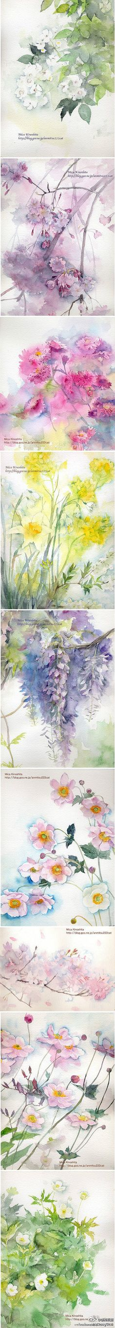 US to heart watercolor painted flower.  Author: Mika Kinoshita
