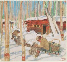 Gagnon, Clarence Alphonse, Canadian, 1881 - 1942 Preparing The Dog Team (Illustration for Le Grande Silence Blanc) c. 1928 monotype Overall (sheet): x cm x 6 ¼ in.) Bequest of Stewart. Toronto Art Gallery, Art Gallery Of Ontario, Fine Art Gallery, Canadian Painters, Canadian Artists, Winter Trees, Winter Art, Clarence Gagnon, Heritage Foundation
