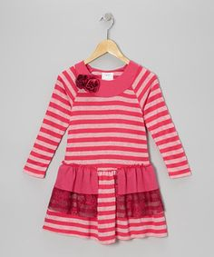 Look what I found on #zulily! Fuchsia Stripe Ruffle Dress - Toddler & Girls by Freckles + Kitty #zulilyfinds