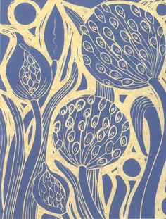 agapanthus - lino print by laura Weston, 2010 Linocut Prints, Art Prints, Block Prints, Linoprint, Agapanthus, Motif Floral, Sgraffito, Wood Engraving, Of Wallpaper