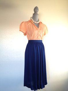 Vintage Navy Blue Pleated Skirt- Classy!