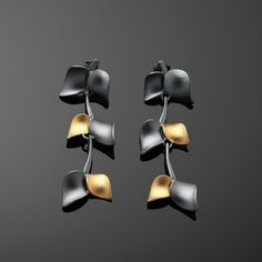Nuppu mid earrings/ black edition | Chao & Eero shop #nuppu #chaoandeero #finnishdesign #finnishjewelry #keumboo