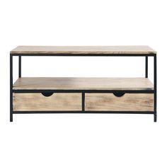 Mueble de TV industrial negro de metal y madera maciza An. 117 cm Long Island