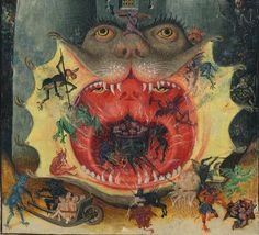 Mouth of hell, detail - Hours of Catherine of Cleves (petrus.agricola) Tags: new york nyc mouth library hell m catherine ms demon devil hours morgan 945 hellmouth cleves jawsofhell Medieval Manuscript, Medieval Art, Illuminated Manuscript, Baphomet, La Danse Macabre, Angels And Demons, Surreal Art, Middle Ages, Dark Art