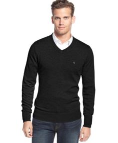 Men\u0027S Signature Solid V-Neck Sweater, Created For Macy\u0027S, Black. S SignatureTommy  HilfigerV ...