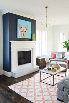 BM Hale Navy Fireplace Accent Wall - Homearama Showhouse by Young House Love Navy Accent Walls, Accent Walls In Living Room, My Living Room, Home And Living, Living Room Decor, Chevron Walls, Fireplace Accent Walls, White Fireplace, Fireplace Wall
