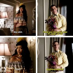 "Zayday and Boone in Scream Queens ""Ghost Stories"" omg that's an ariana grande song :)"