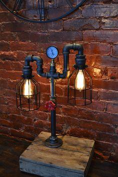 2 ARM Industrial Sleel Pipe LAMP Edison Bulbs by WestNinthVintage, $194.00