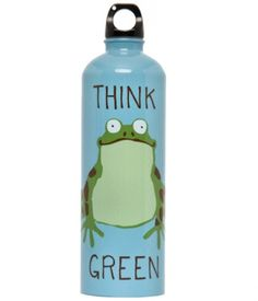 """""""Think Green"""" Frog Stainless Steel Water Bottle"""