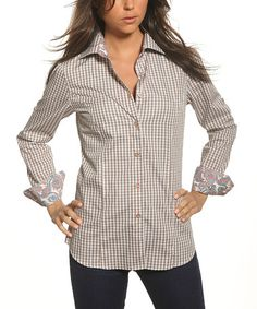 Take a look at this Brown Gingham Contrast Cuff Button-Up by Jared Lang on #zulily today!