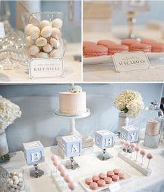 Elegant pink and blue baby shower. So sweet!