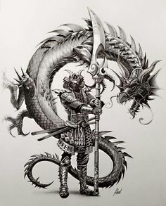 Tattoo Designs Dragon Fantasy Art 56 Ideas For 2019 Samurai Tattoo, Ronin Tattoo, Japanese Tattoo Art, Japanese Art, Fantasy Kunst, Fantasy Art, Body Art Tattoos, Sleeve Tattoos, Samurai Artwork