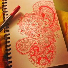 Love to use red which make me always think of happiness #mandala  #zentangle #doodle