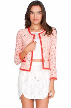 Lovely in Lace Jacket - Stay sweet in this rose lace jacket featuring a red trim. Pair it with a white skinny jean for chic look.