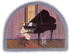 First Recital ***Sold Out***  First Recital  Issued in 1986  IS: 15-1/2 x 19-1/4 ins. PS: 20-1/2 x 24-1/4 ins.  Edition: 1,000 and 25 artist's proofs  Rare Print This print is no longer available from The Moss Portfolio on this shopping site.  It might still be available at your local P. Buckley Moss gallery.  Issued at $150.  Estimated current value is $425.